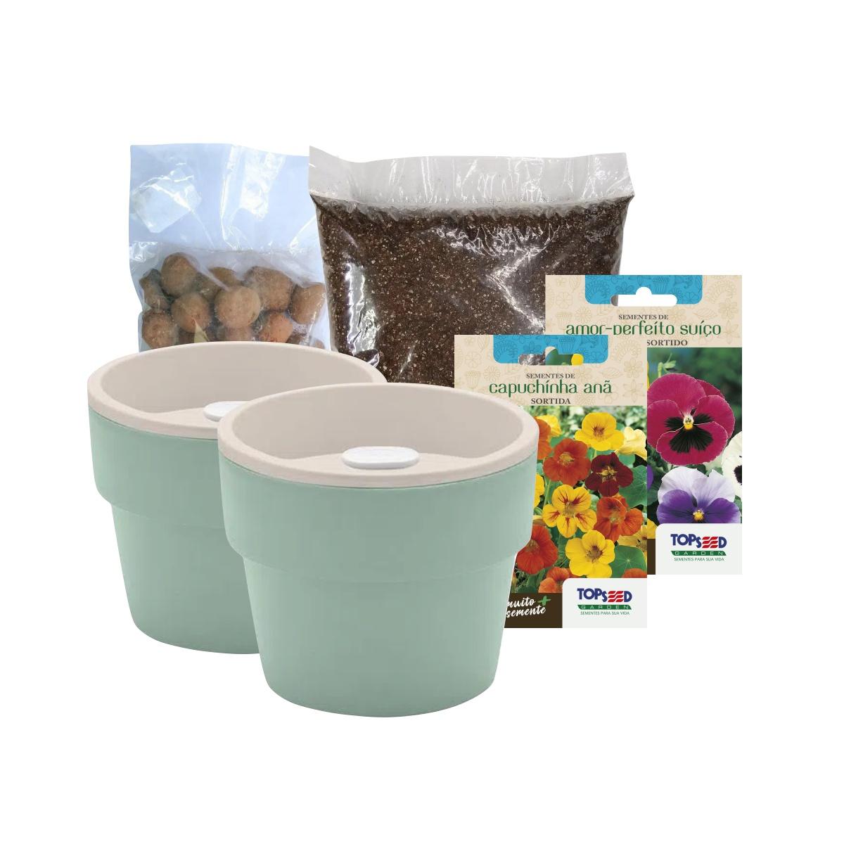 Kit Plantio de Flores Comestíveis com Vasos Linha Plantar Verde Menta