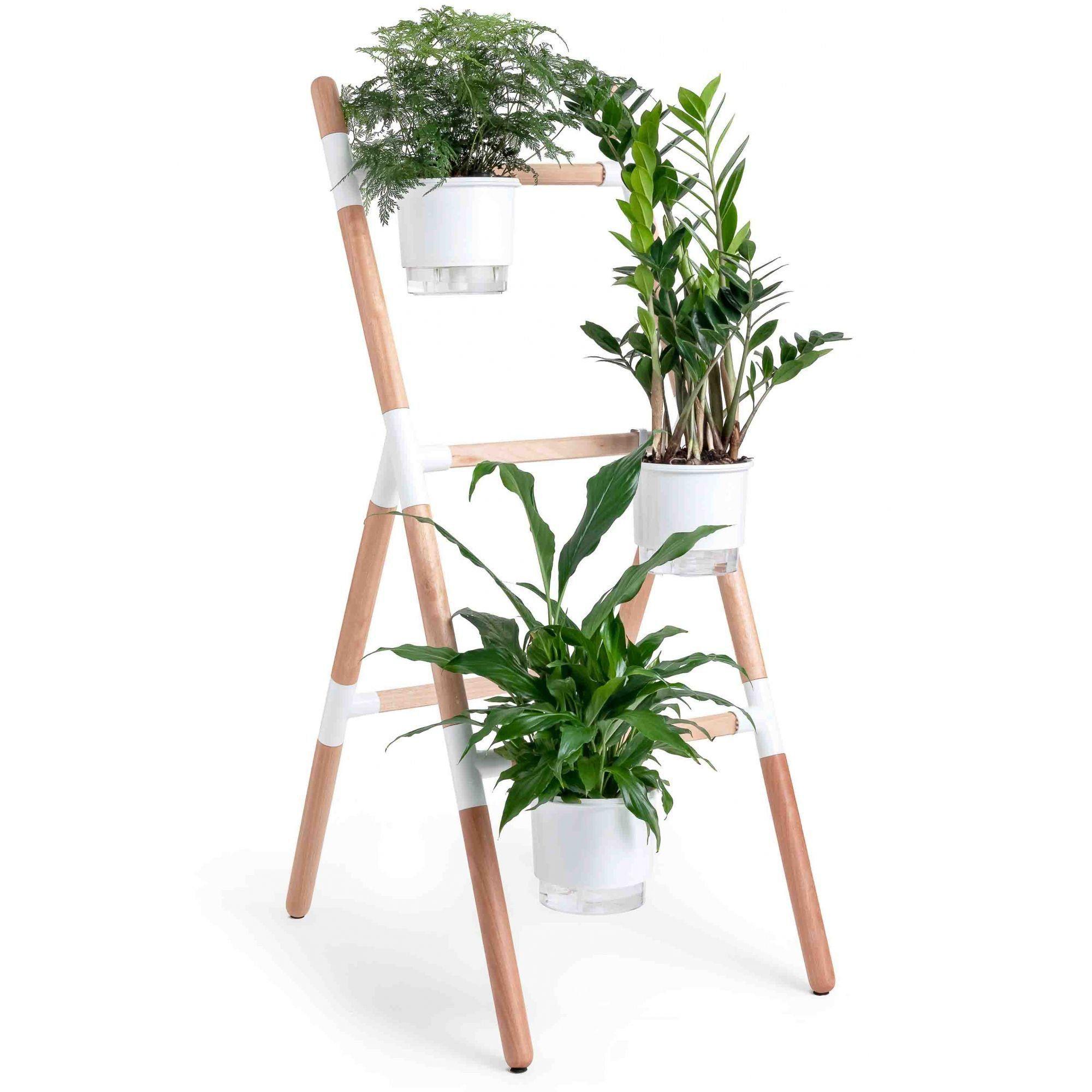 Kit Horta Vertical Escada Eleve Raiz 3 Níveis Branco