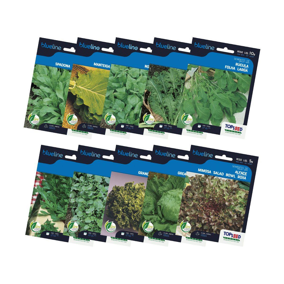 Kit Sementes de Folhosas 10 variedades Topseed Garden