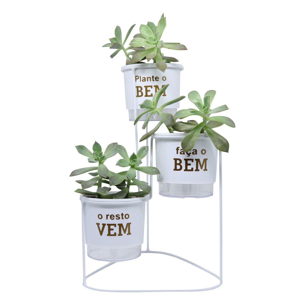 Kit Suporte Aramado Cascata Branco 40cm + 03 Vasos Autoirrigáveis Plante o Bem N02 Pequenos Raiz Branco