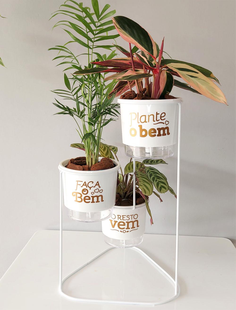 Conjunto Cascata com Vasos Autoirrigáveis Plante o Bem Branco