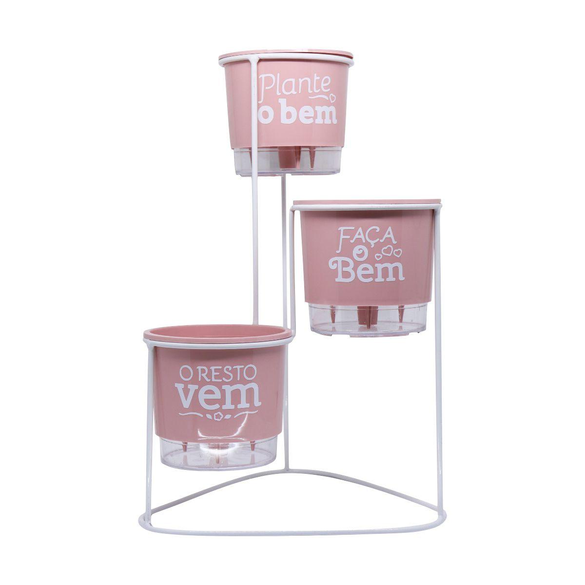 Conjunto Cascata com Vasos Autoirrigáveis Plante o Bem Rosa Quartzo