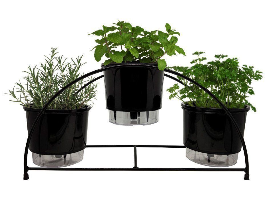 Kit Suporte Preto + 03 Vasos Autoirrigáveis N03 + 03 Substratos + 03 Argila Expandida
