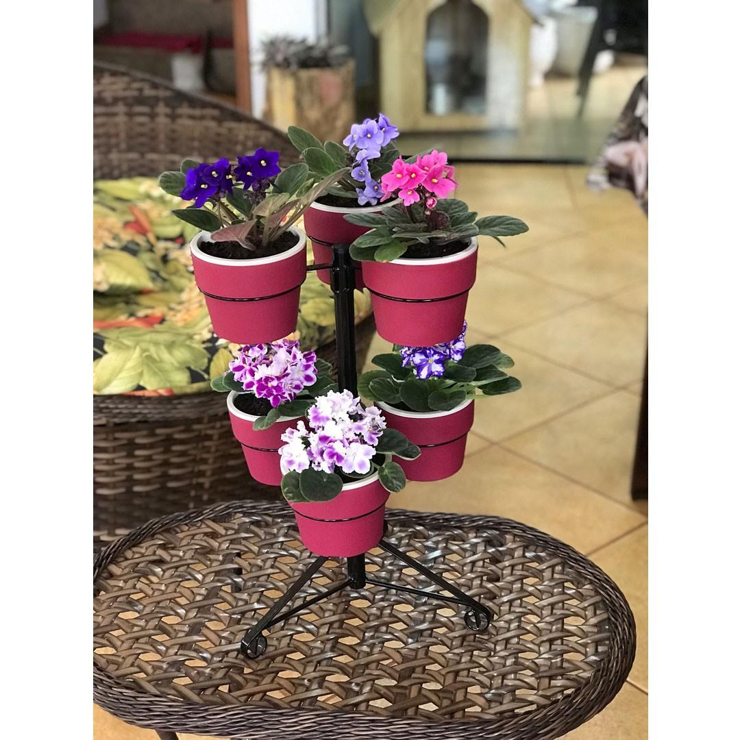 Kit Suporte Preto com 6 Vasos Autoirrigáveis Pequenos Marsala Linha Plantar