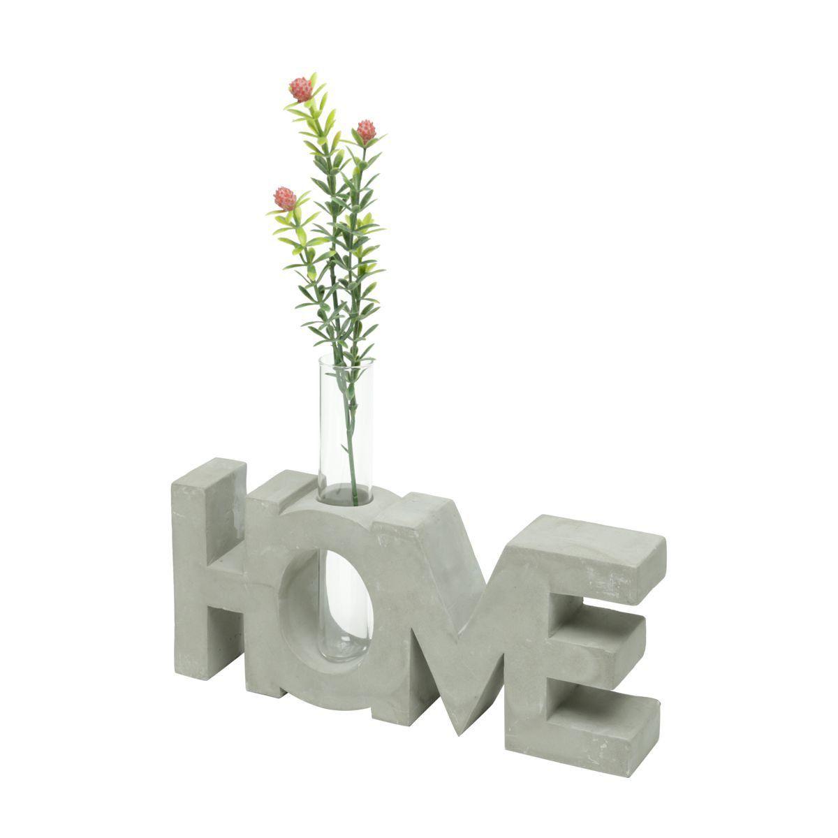 Letreiro de Concreto com Vaso de Vidro Home Shape Cinza 17cm x 23cm - 42046