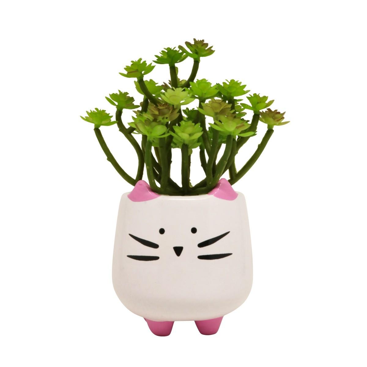Mini Vaso de Cerâmica Gatinho 10cm x 8cm - 5807