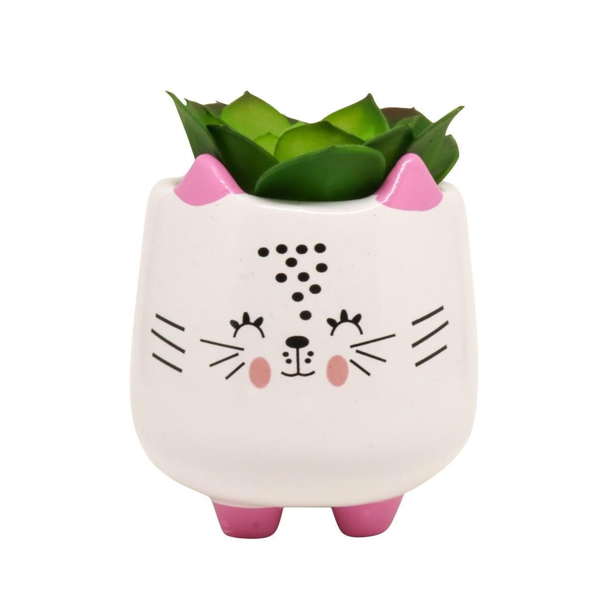 Mini Vaso de Cerâmica Gatinho Feliz 10cm x 8cm - 5805
