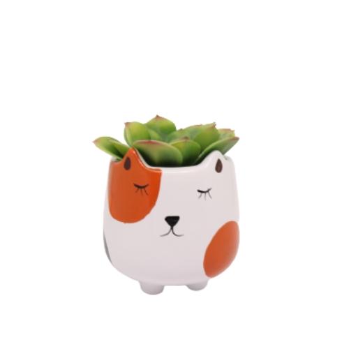 Mini Vaso de Cerâmica para Suculentas Bichinho Laranja 10cm x 9,5cm - 6207