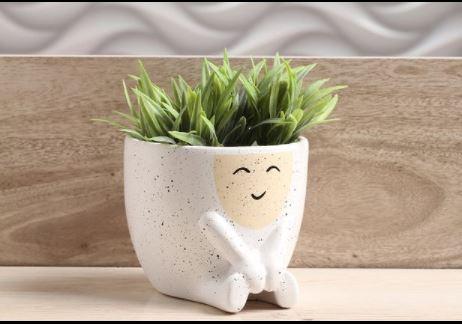 Mini Vaso de Cerâmica para Suculentas Harmonia Branco 9,5cm x 11cm - 6212