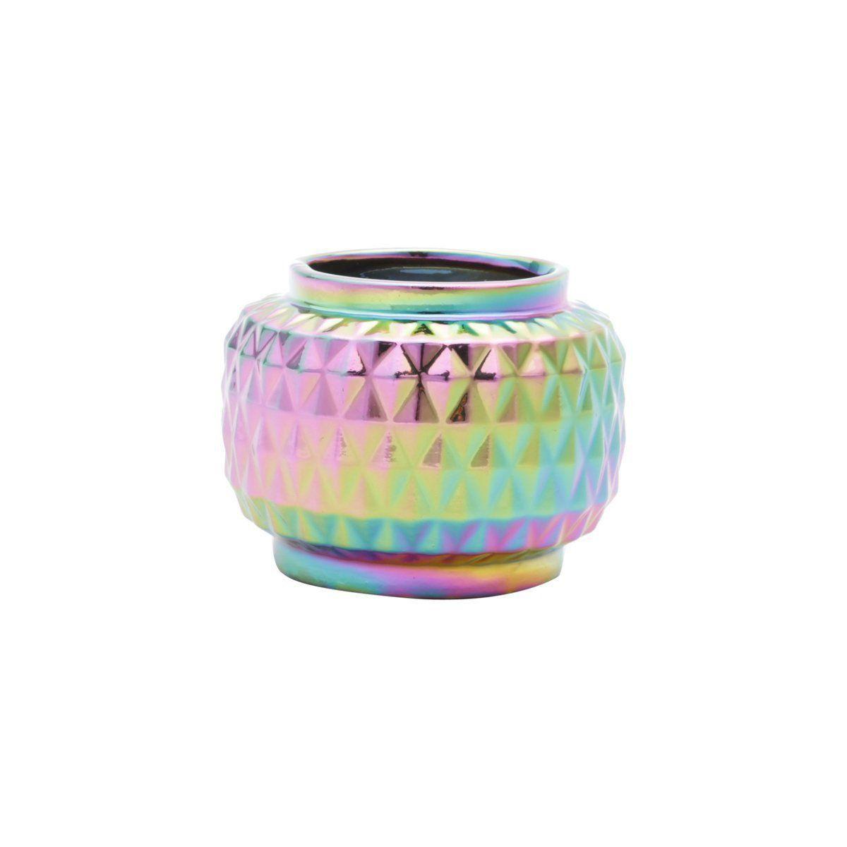 Mini Vaso de Cerâmica Rainbow Spikes Colorido 6,2cm x 8cm - 41119