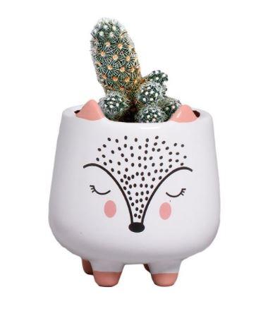 Mini Vaso de Cerâmica Raposa 10cm x 8cm - 5804
