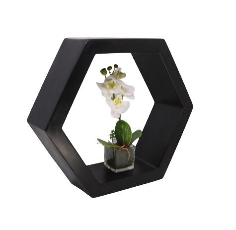 Nicho Sextavado Vogue cor Preto Carvão 29,5cm x 34cm - CPP1-PC