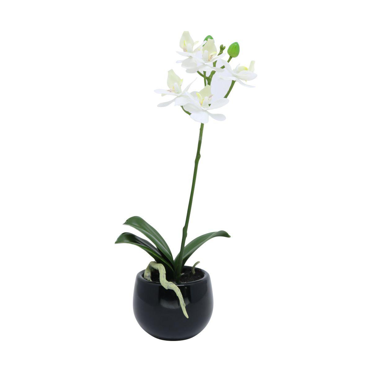 Orquídea Phalaenopsis artificial Branca com Vaso Preto 25cm - 27548001