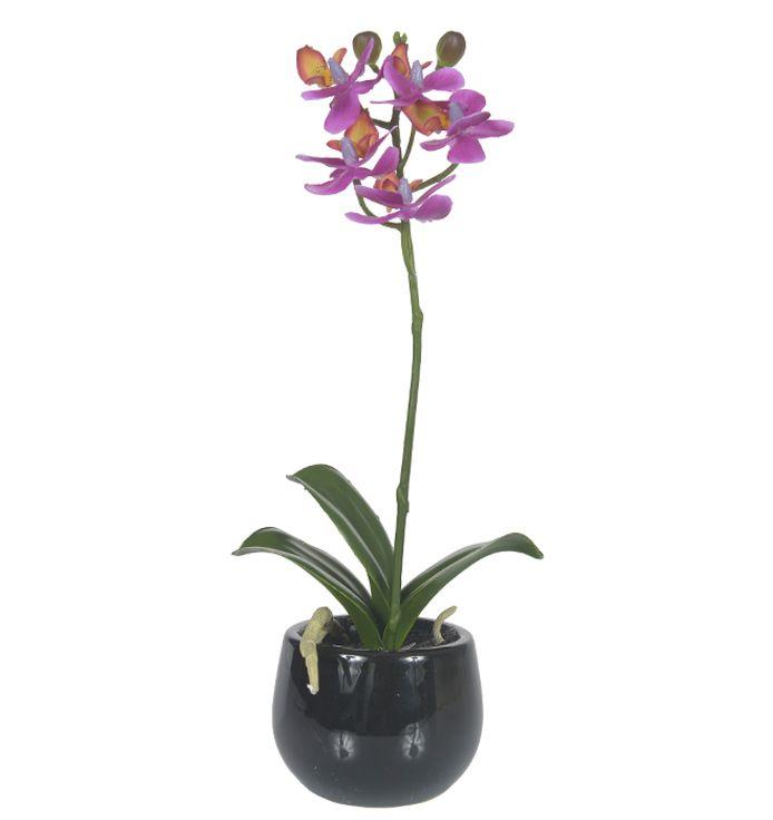 Orquídea Phalaenopsis artificial Lilás com Vaso Preto 25cm - 27548001L
