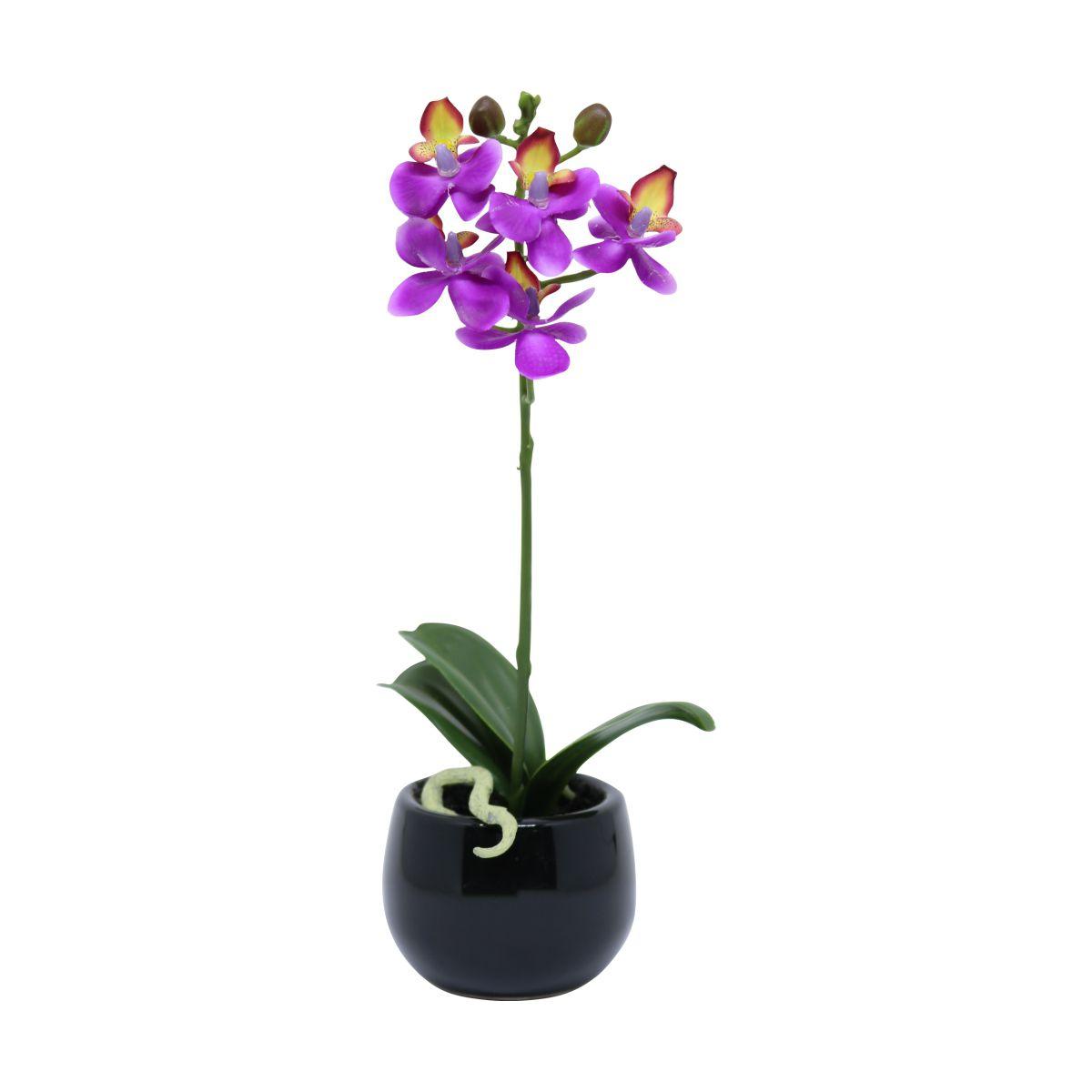 Orquídea Phalaenopsis artificial Roxa com Vaso Preto 25cm - 27548001R