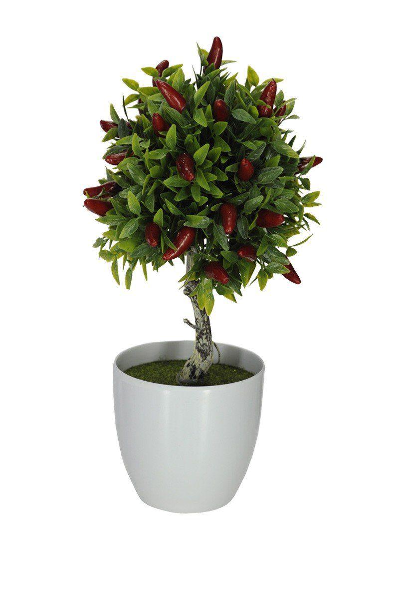 Pimenta Topiara Artificial Vermelha 29cm com Vaso - 28269001