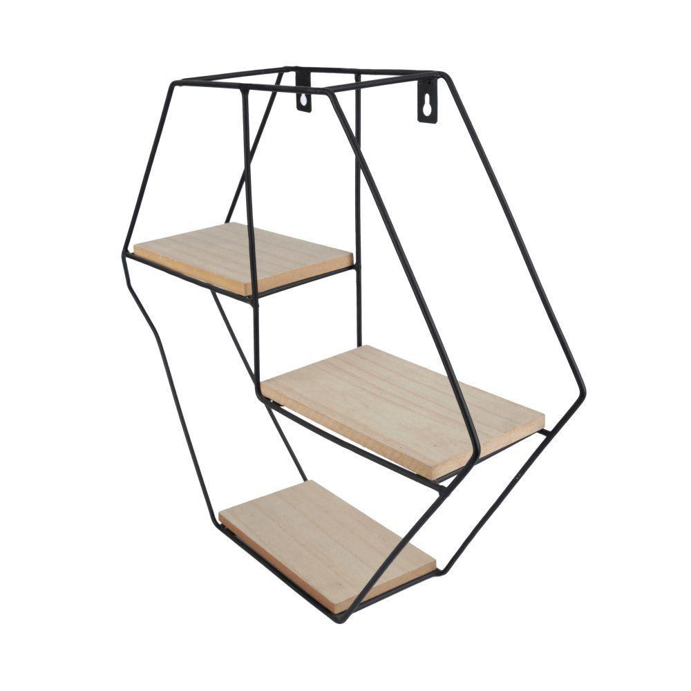 Prateleira de Metal com Tábuas de Madeira Hexagonal 36cm x 40cm - 40500