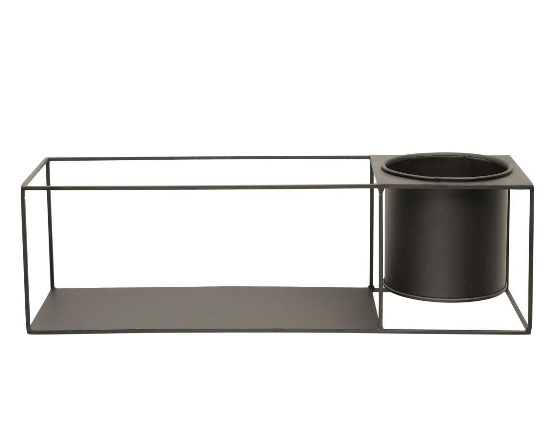 Prateleira de Metal Retangular com Cachepô Preto 12cm x 40cm - 42641