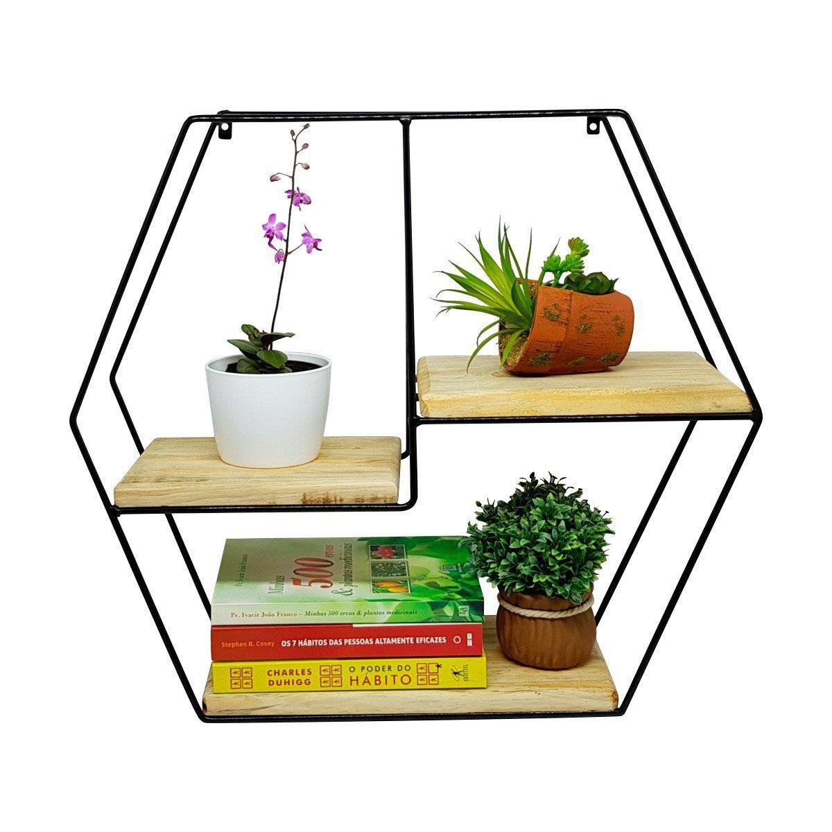 Prateleira Rústica Decorativa Hexagonal 50cm x 57cm
