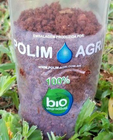 Saco Biodegradável para Mudas aproximadamente 10cm x 30cm Polim-Pote Bio kit com 100 unidades