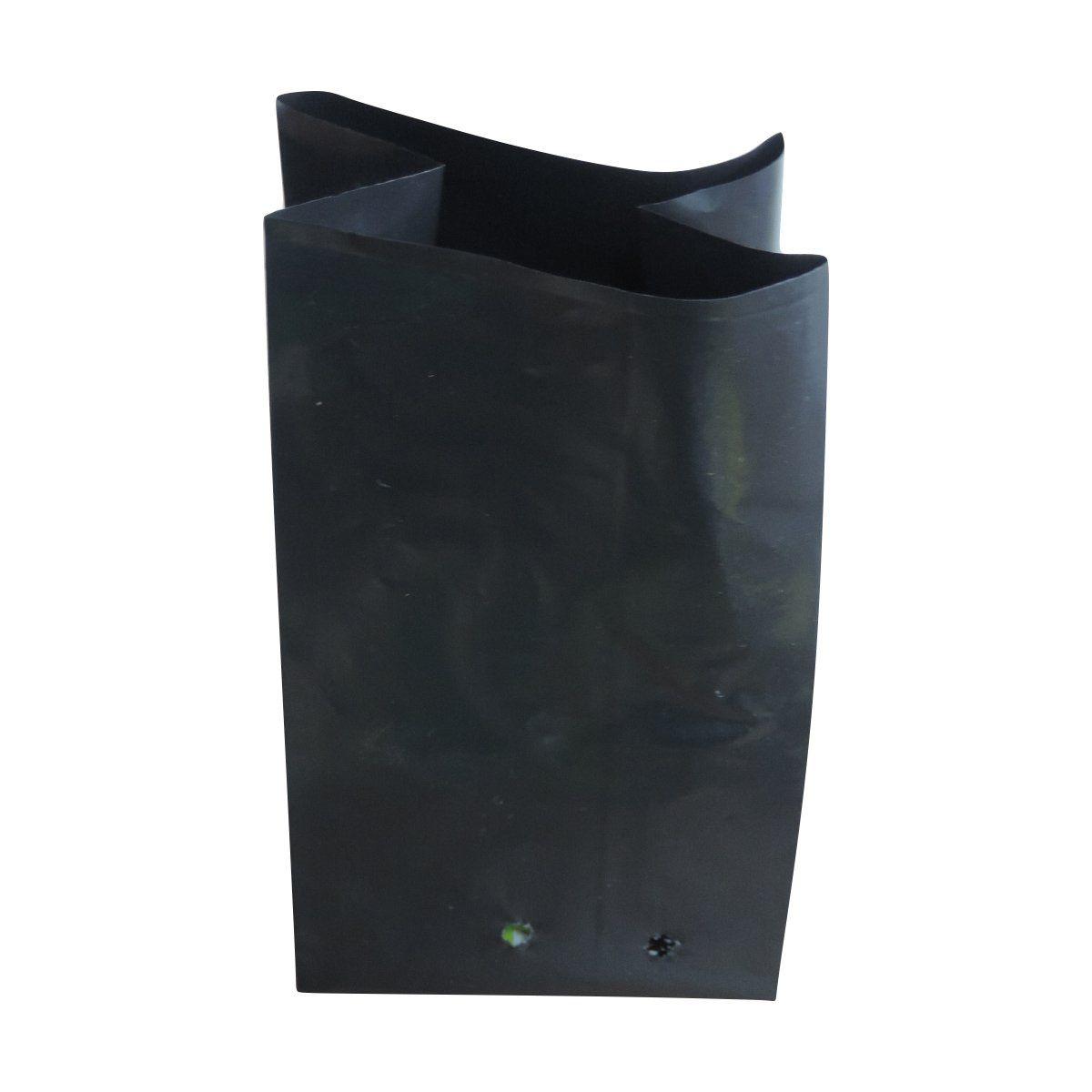 Saco para mudas aproximadamente 17cm x 22cm plástico preto para banana, lichia, abacate ou espécies nativas 100 unidades