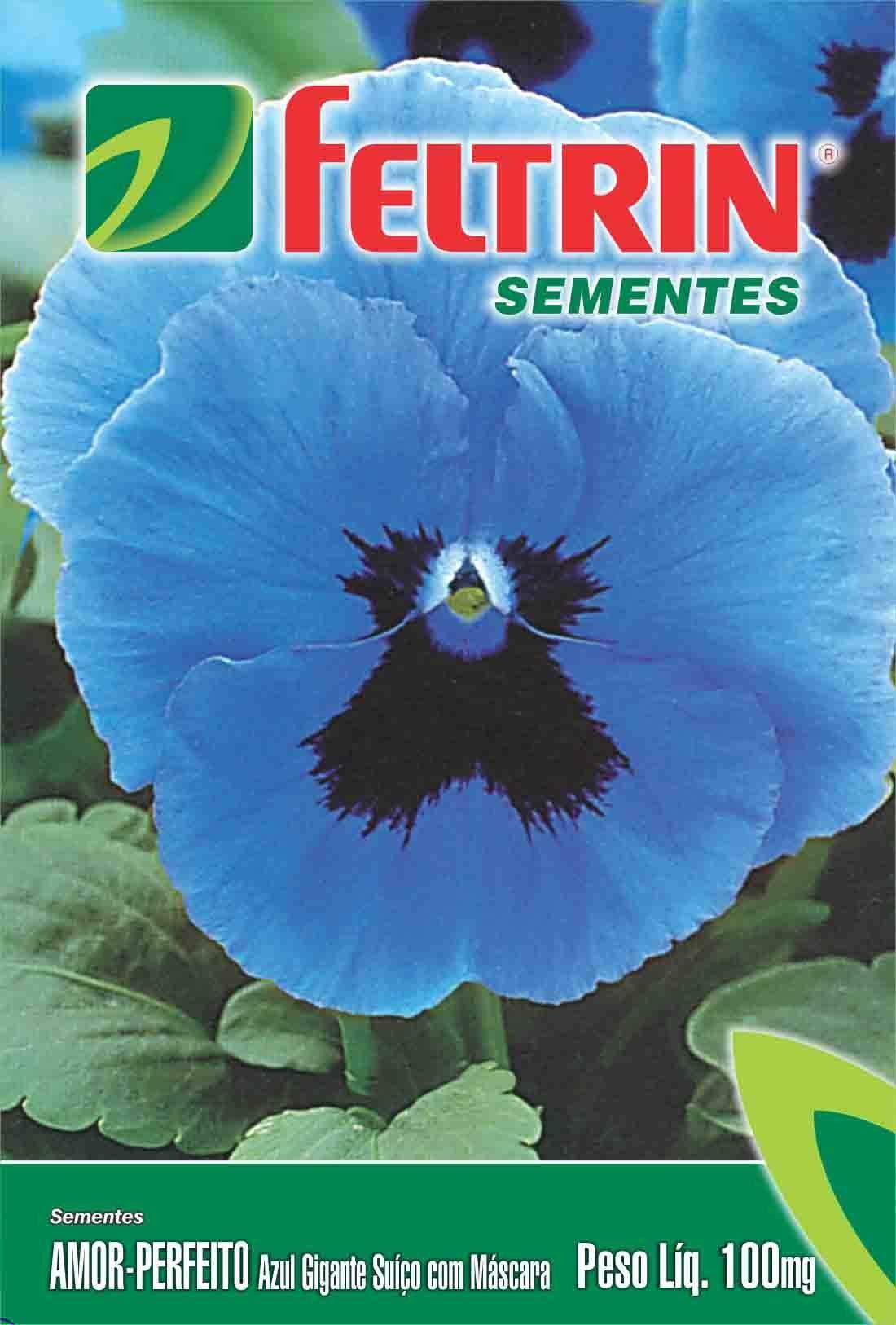 Sementes de Amor Perfeito Azul Gigante Suíço com Máscara - Feltrin Linha Flores Econômica 70mg