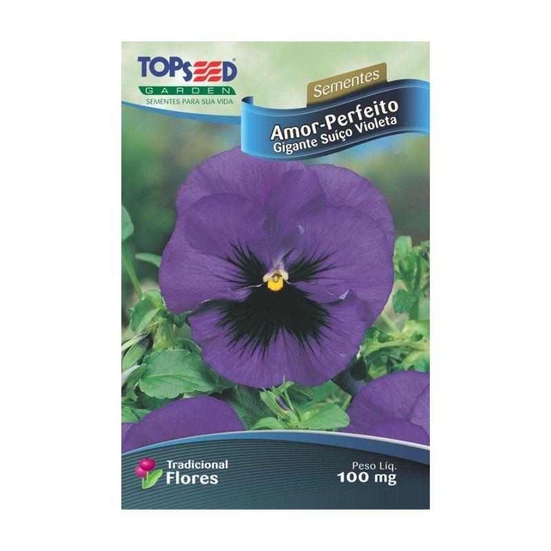 Sementes de Amor Perfeito Gigante Suíço Violeta - Topseed Linha Tradicional Flores