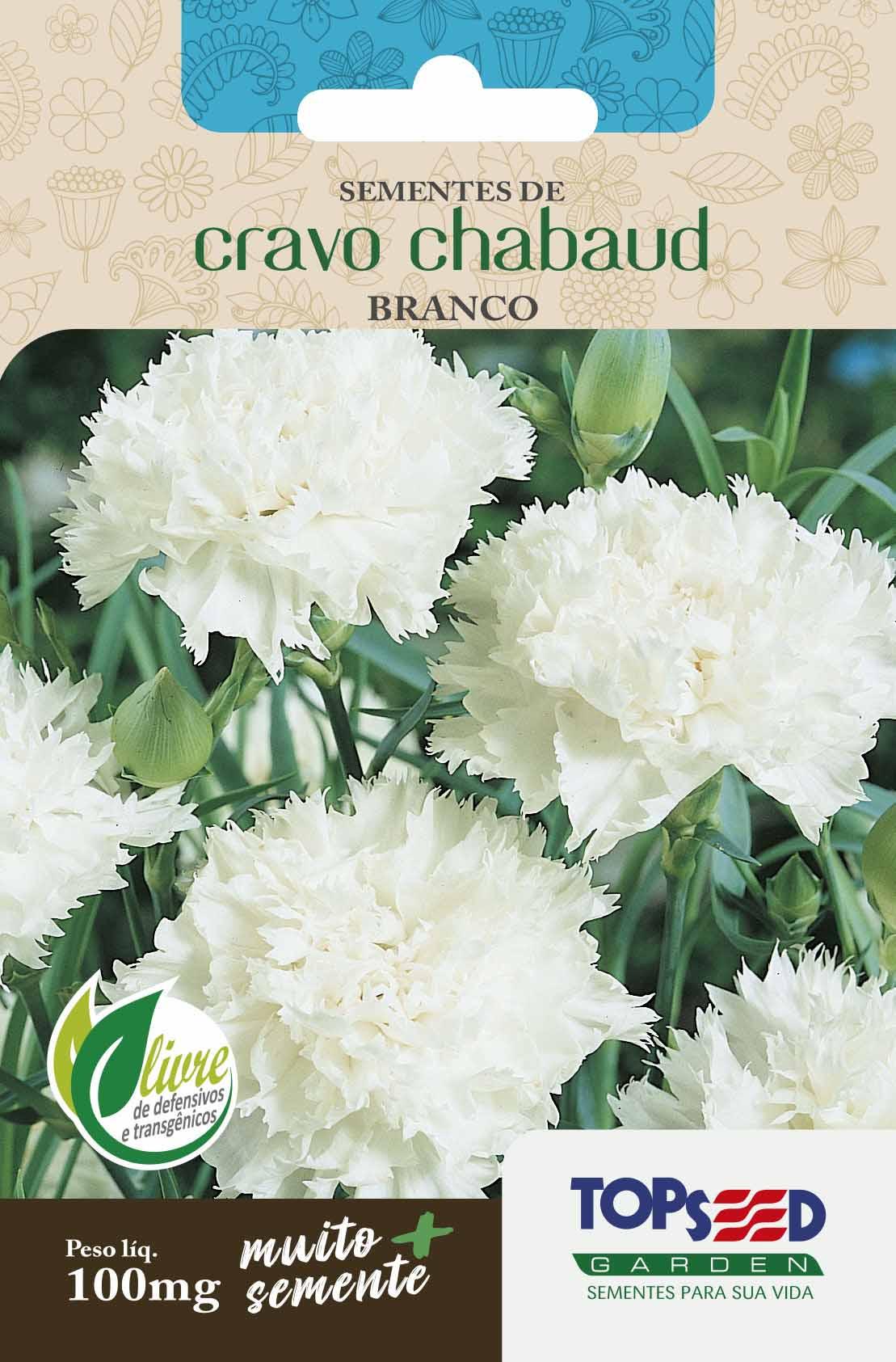 Sementes de Cravo Chabaud Branco 100mg - Topseed Linha Tradicional Flores