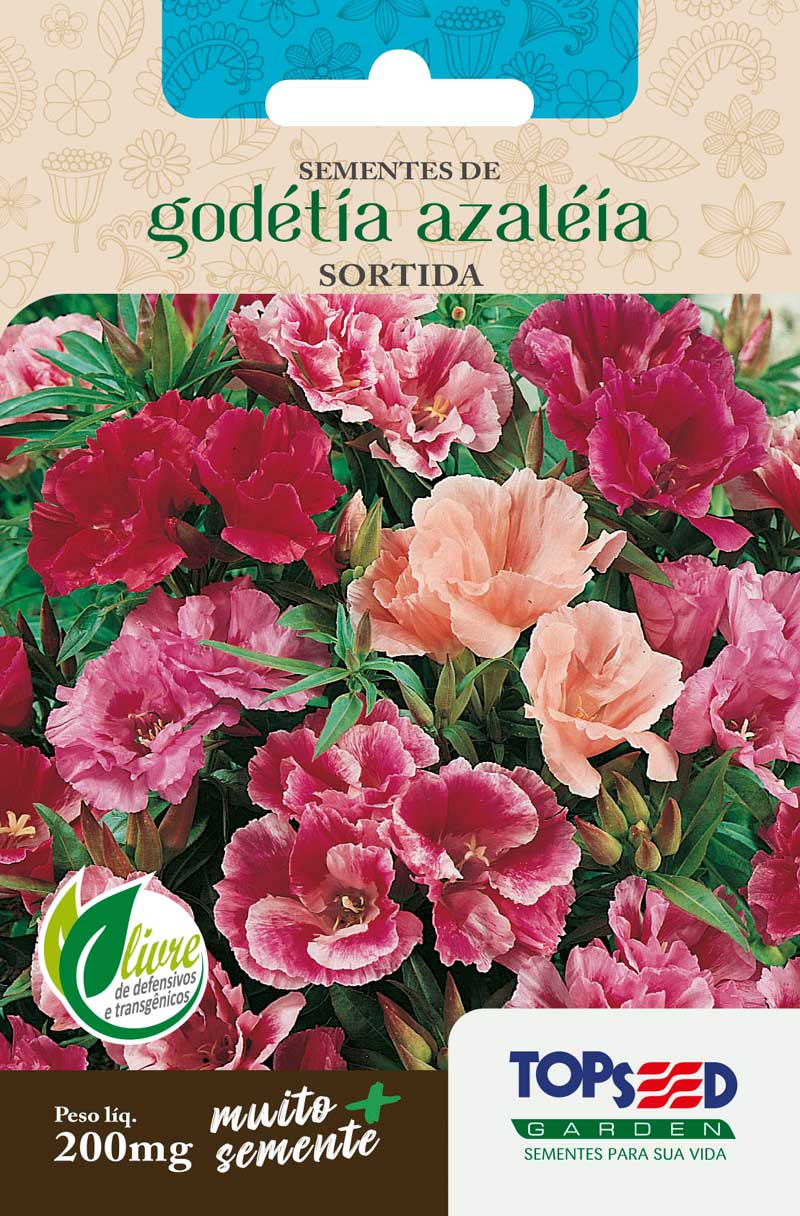 Sementes de Godétia Azaléia Sortida - Topseed Linha Tradicional Flores 200mg
