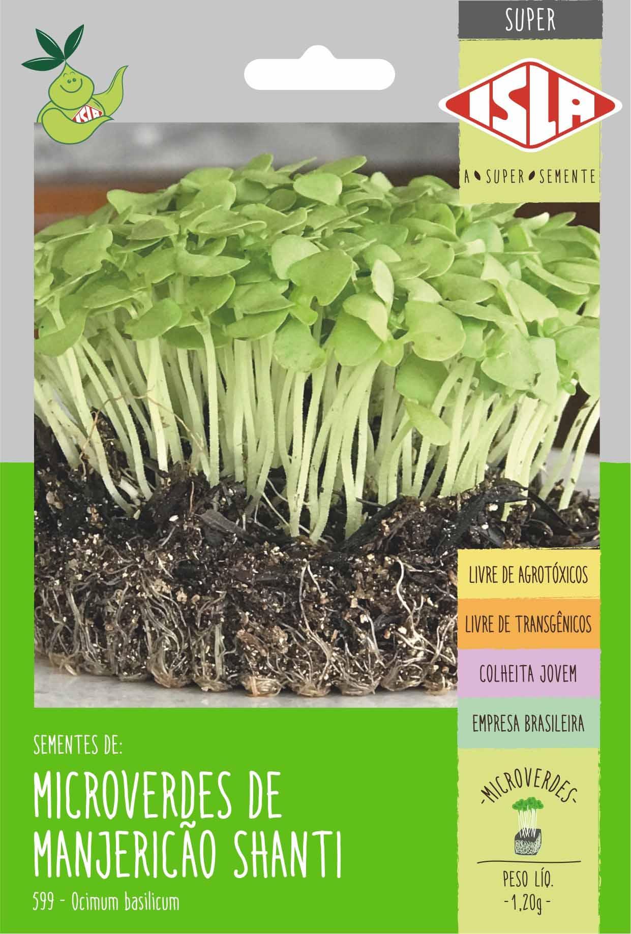 Sementes de Manjericão Basilicão Shanti Microverdes 1,20g - Isla Superpak