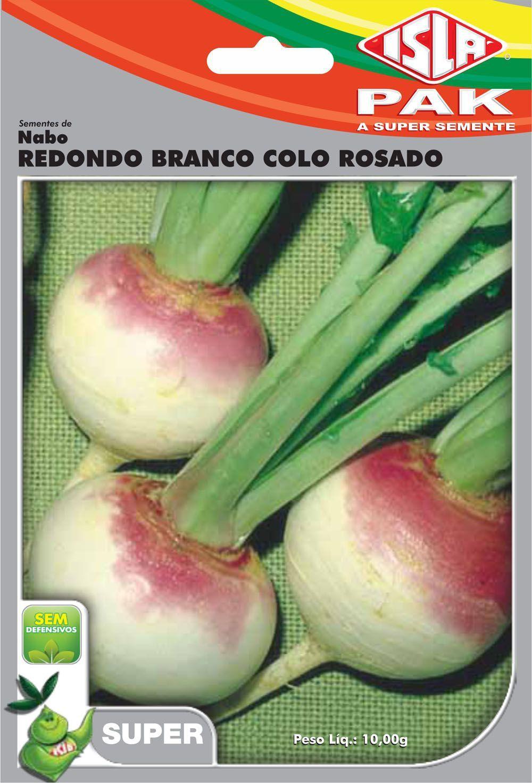 Sementes de Nabo Redondo Branco Colo Rosado 10g - Isla Superpak