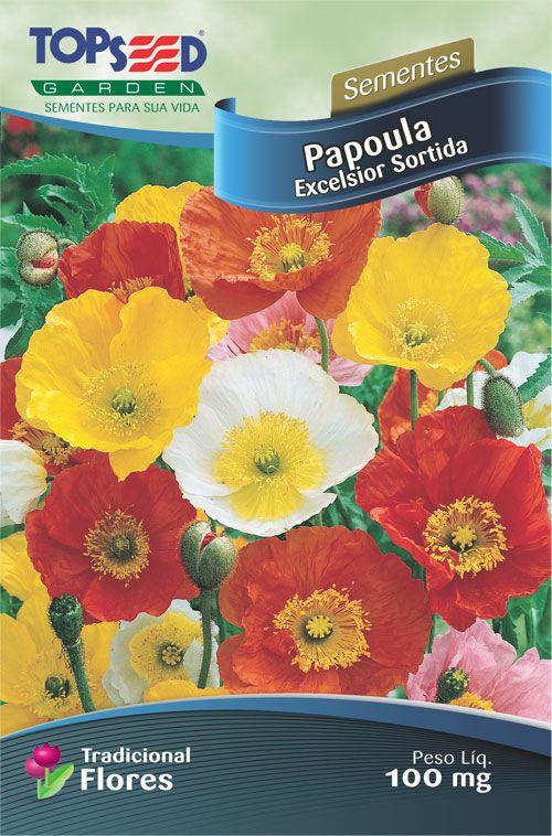Sementes de Papoula Excelsior Sortida 100mg - Topseed Linha Tradicional Flores