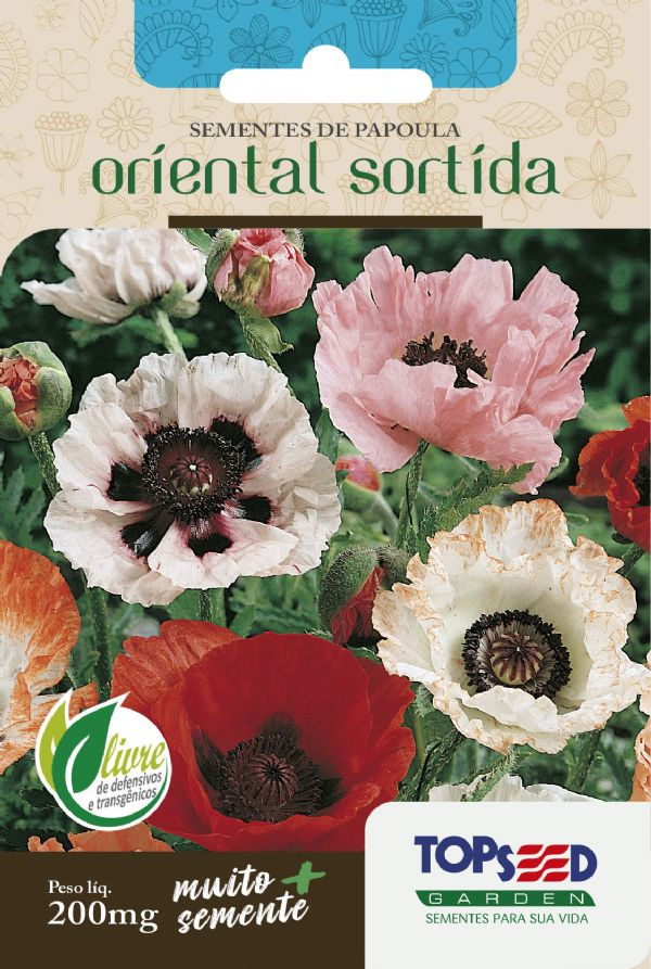 Sementes de Papoula Oriental Sortida 200mg - Topseed Linha Tradicional Flores