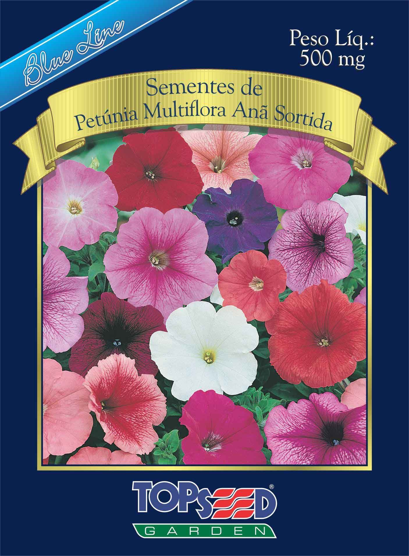 Sementes de Petúnia Multiflora Anã Sortida 500mg - Topseed Blue Line