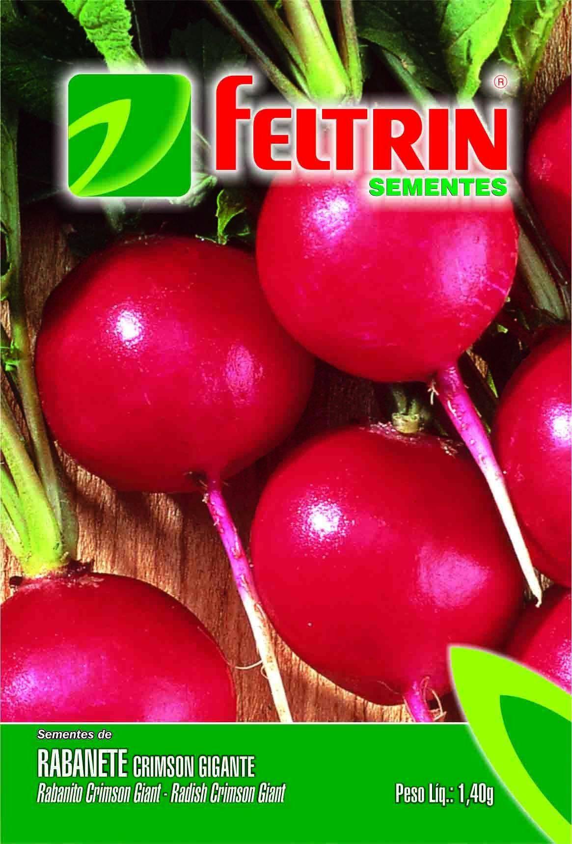 Sementes de Rabanete Crimson Gigante Linha Econômica Feltrin 1,40g