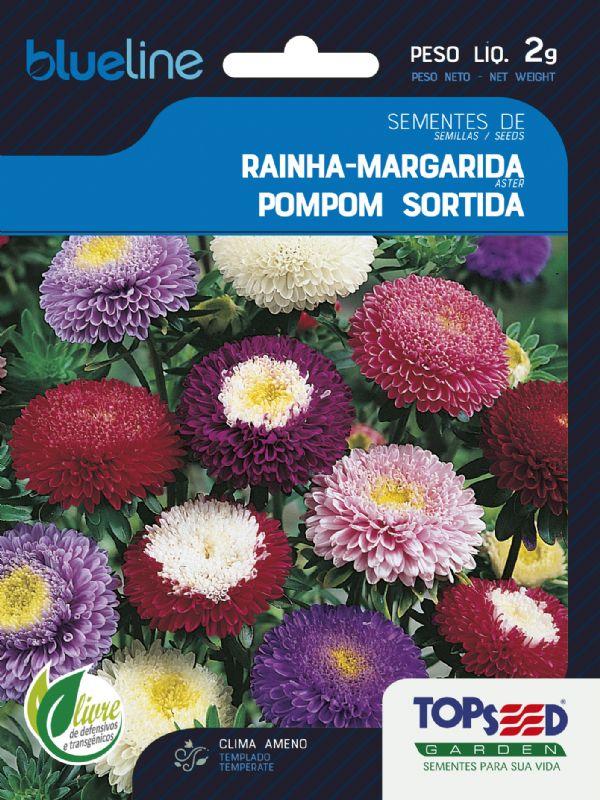 Sementes de Rainha Margarida Pompom Sortida 2g - Topseed Blue Line