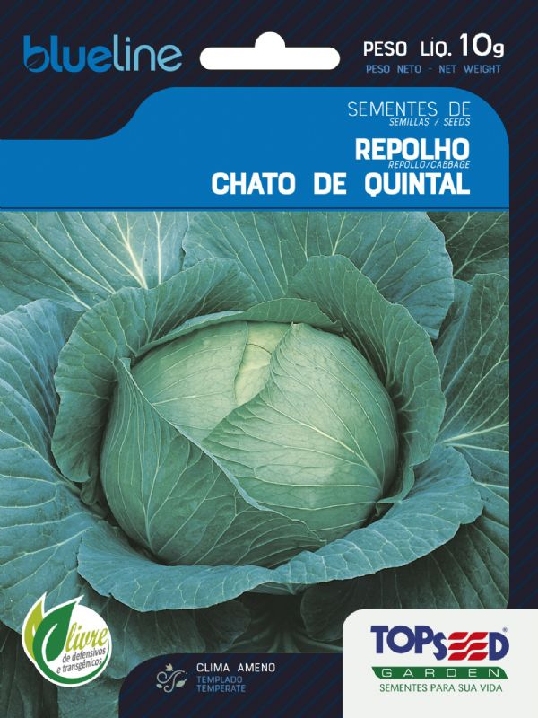 Sementes de Repolho Chato de Quintal 10g - Topseed Blue Line