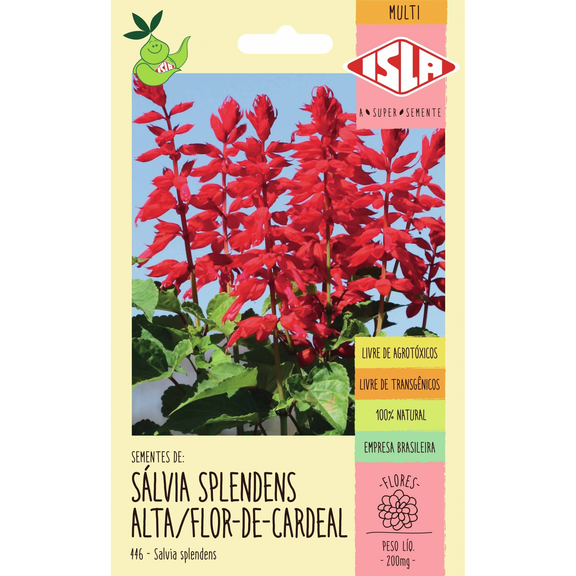 Sementes de Sálvia Splendens Alta Flor de Cardeal 200mg - Isla Multi