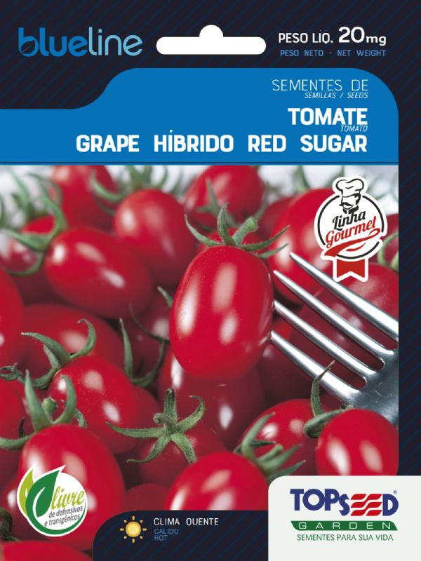 Sementes de Tomate Grape Híbrido Red Sugar F1 20mg - Topseed Blue Line Gourmet