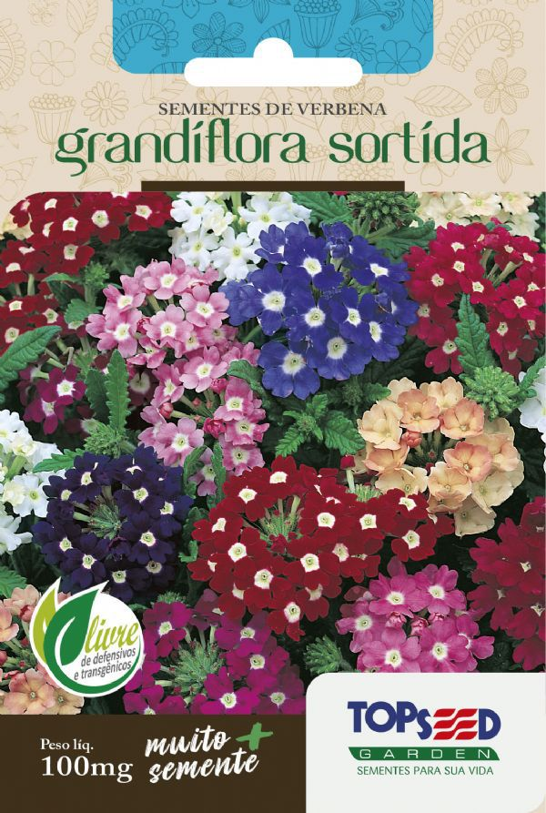 Sementes de Verbena Grandiflora Sortida 100mg - Topseed Linha Tradicional Flores