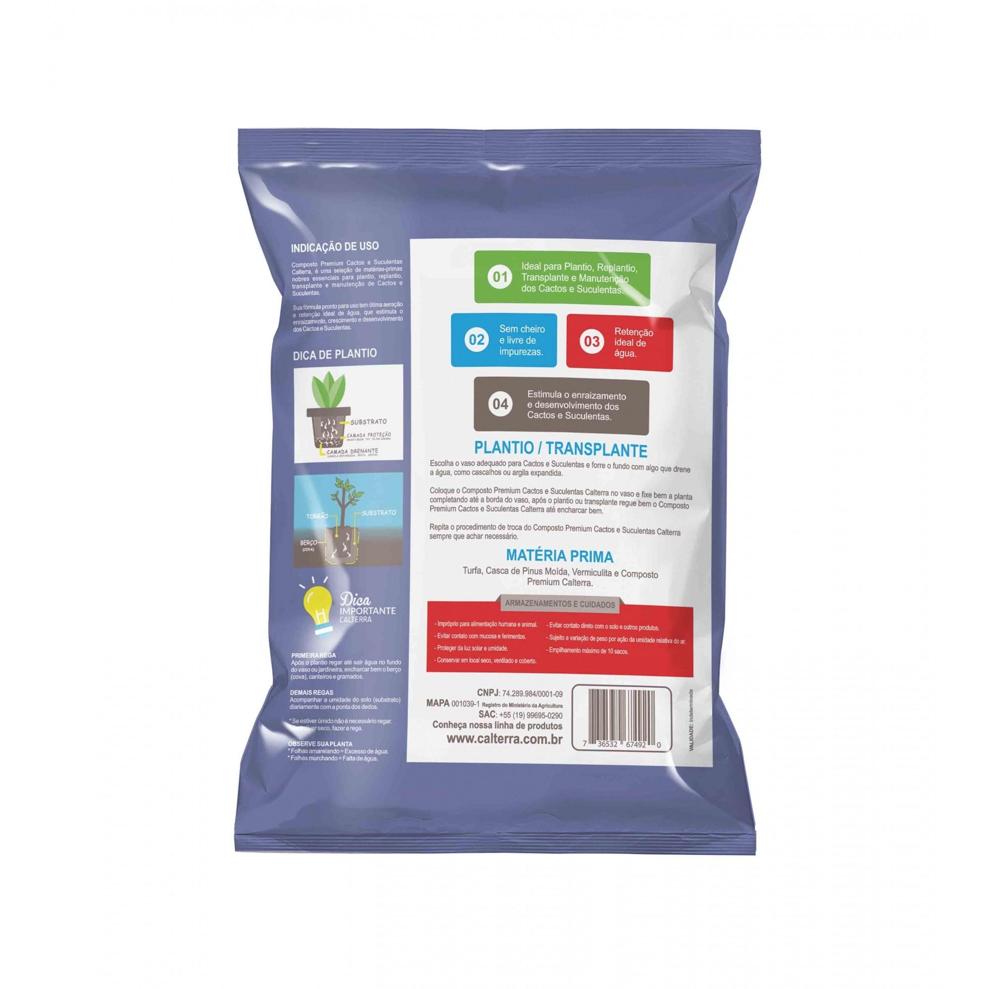Substrato Composto para Cactos e Suculentas 3kg Calterra