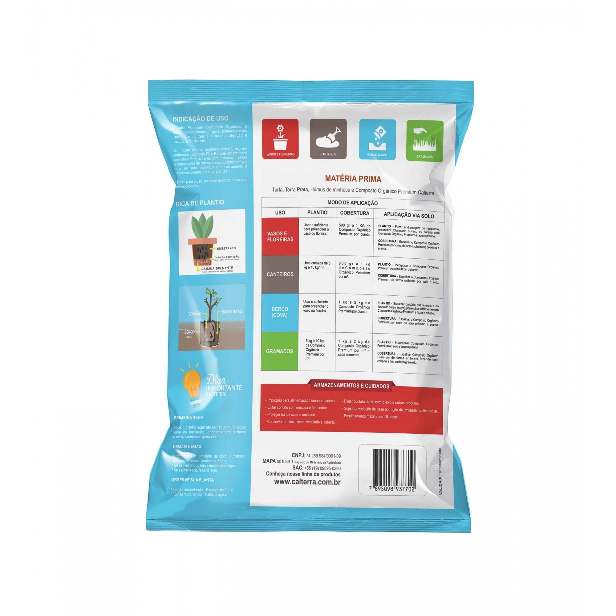 Substrato Plantio Premium Composto Orgânico 25kg Calterra