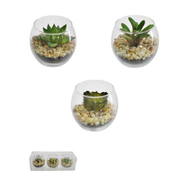 Suculentas artificiais sortidas em vasos de vidro redondos 03 unidades - 25364001