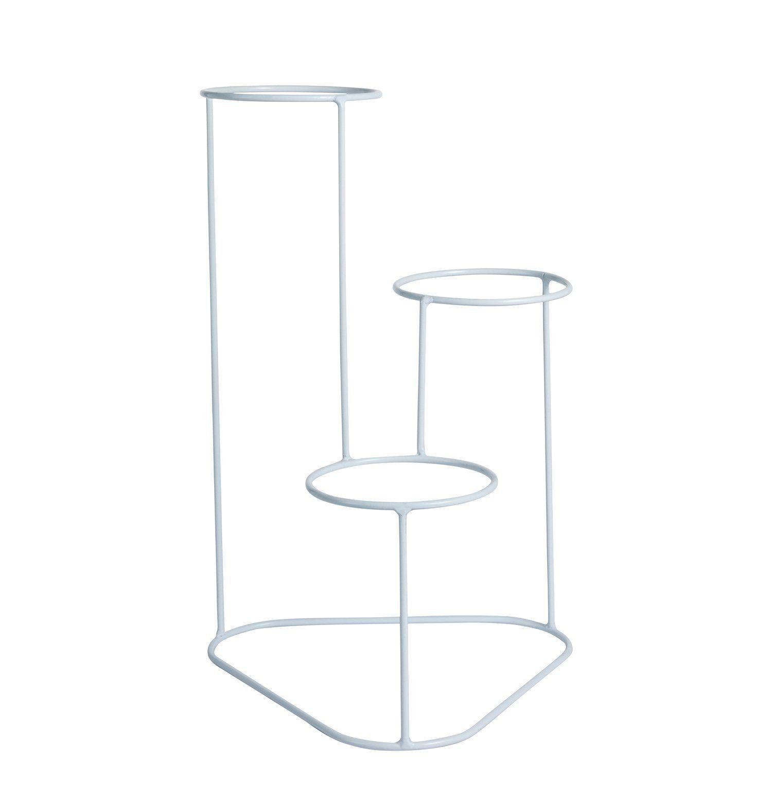 Suporte Aramado Cascata Branco 40cm para 03 Vasos Raiz Pequenos N02