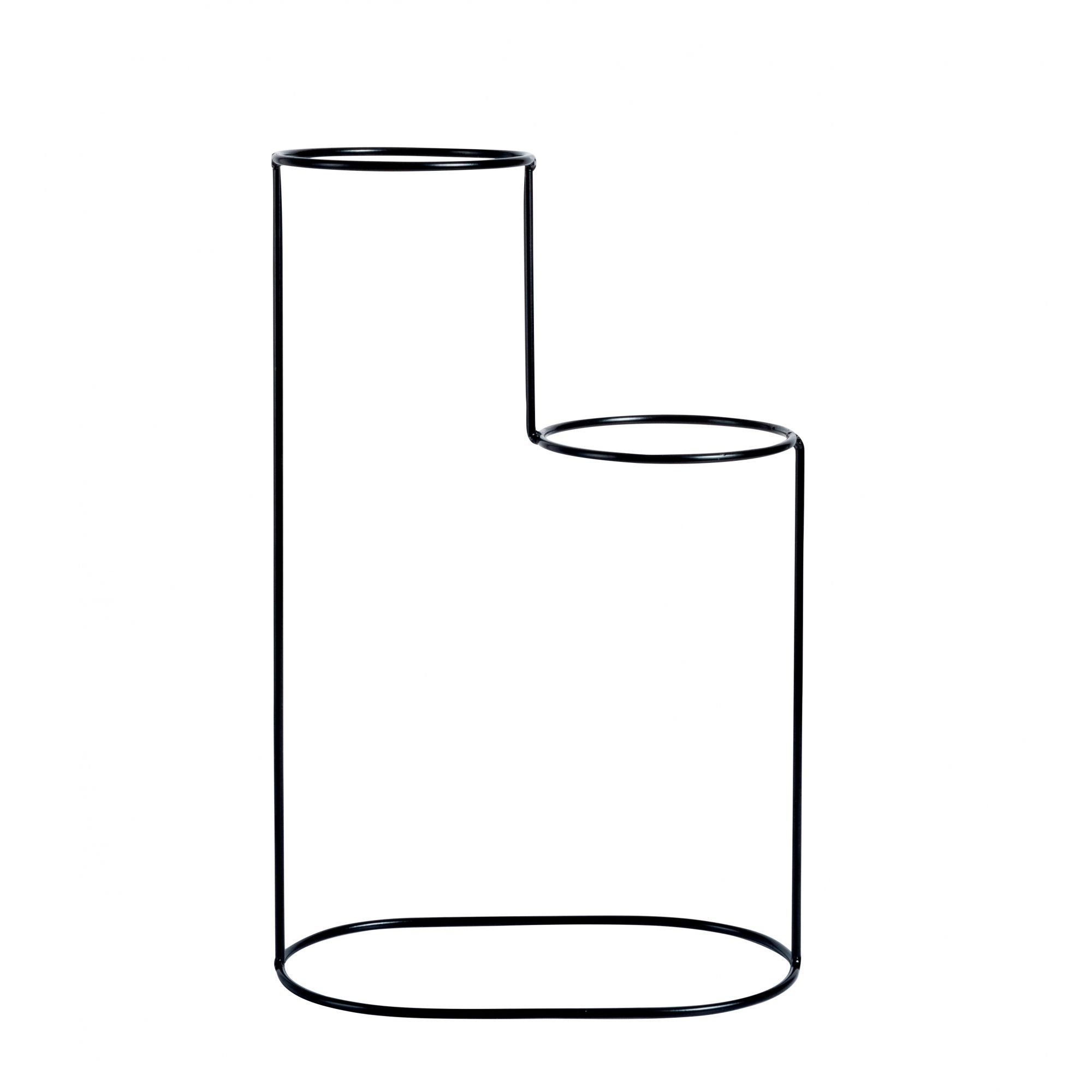 Suporte Aramado Cascata Preto 40cm para 02 Vasos Raiz Pequenos N02