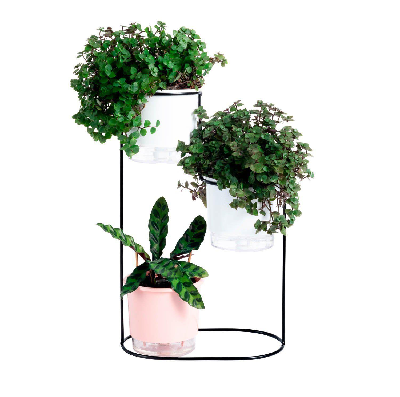 Suporte Aramado Cascata Preto 40cm para 03 Vasos Raiz Pequenos N02