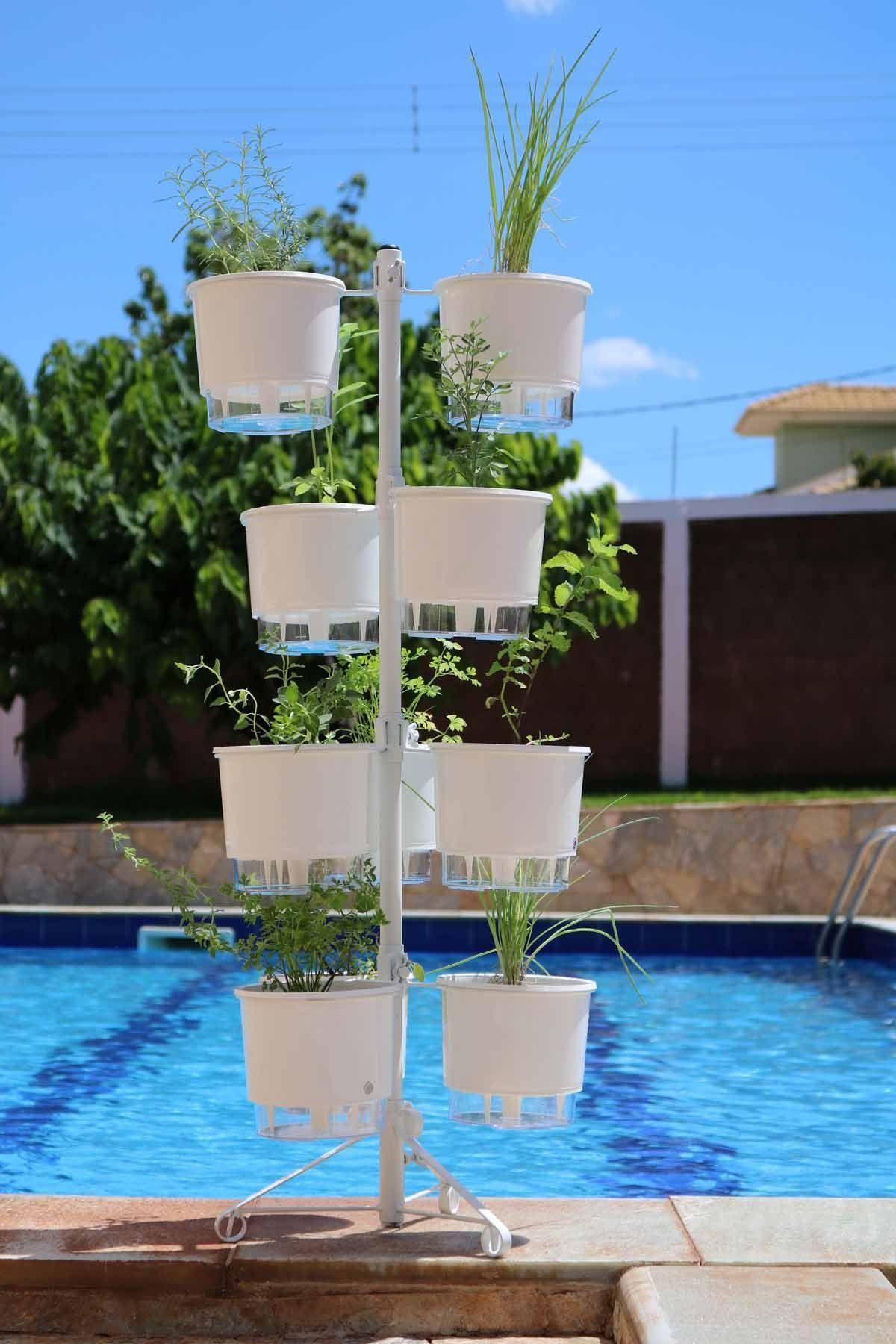 Suporte branco para 10 Vasos Autoirrigáveis tamanho Médio N03 Raiz (não acompanha vasos e plantas)