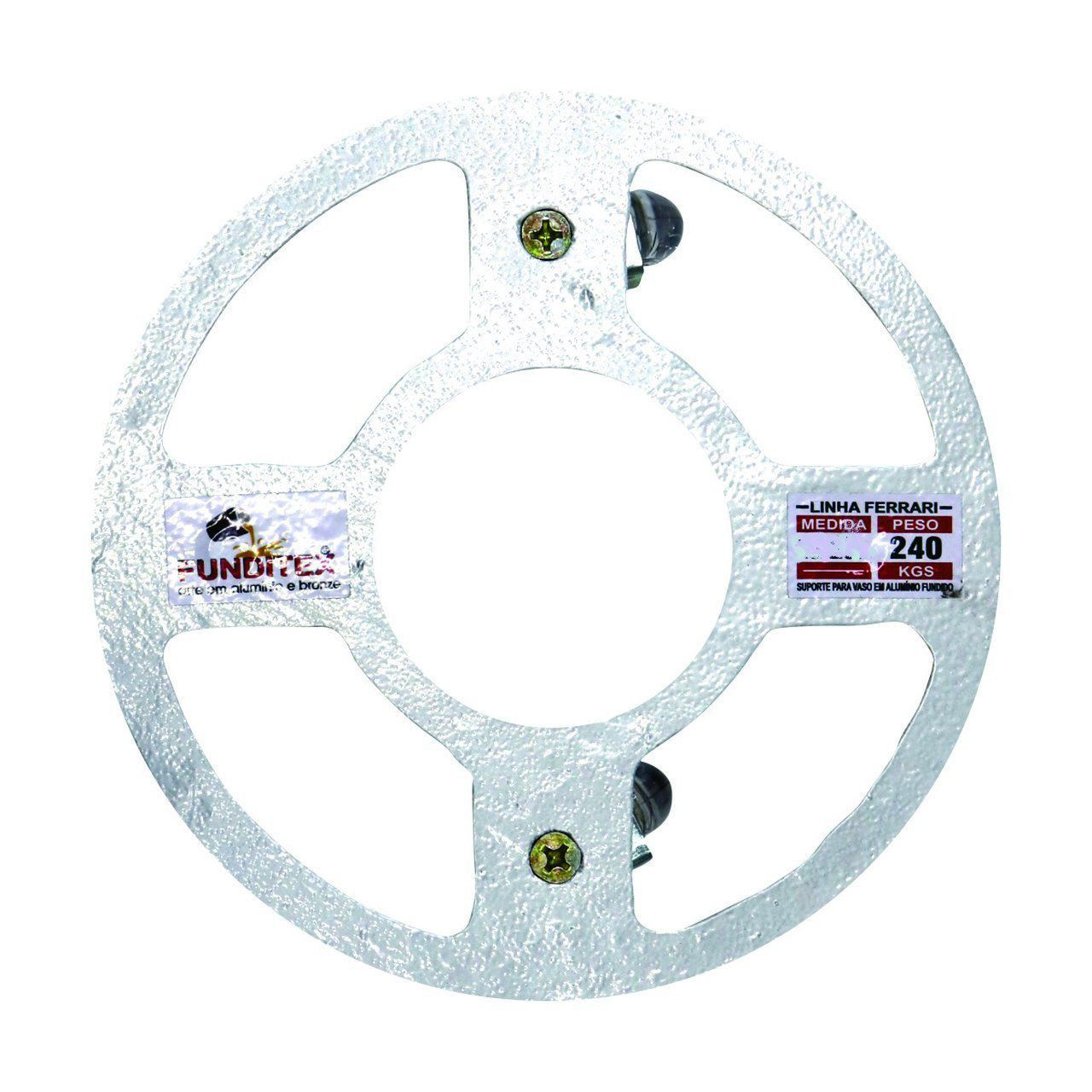 Suporte para Vaso em Alumínio Fundido com Rodízio Redondo 30cm Branco