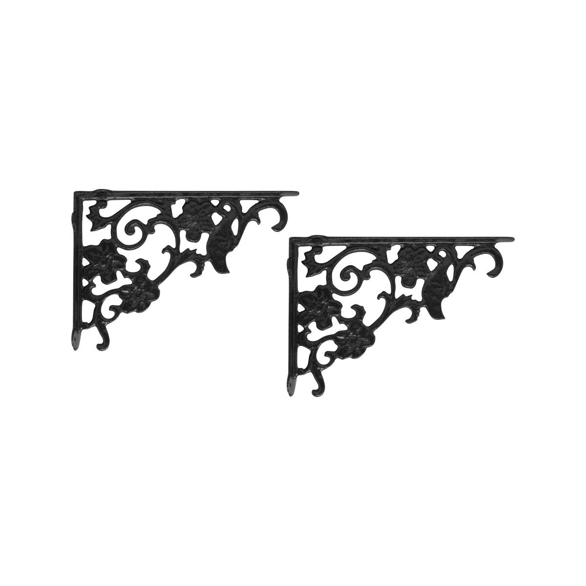Suporte de Parede Mão Francesa Tropical 18cm x 25cm em Alumínio Fundido Preto