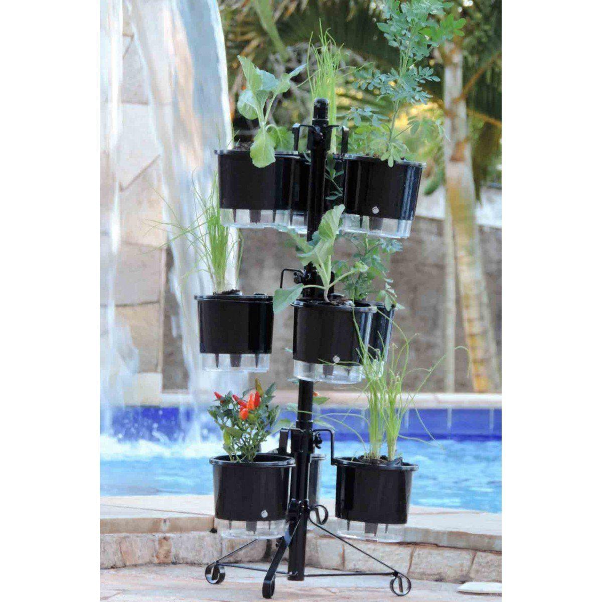Suporte Preto para 9 Vasos Autoirrigáveis tamanho Pequeno N02